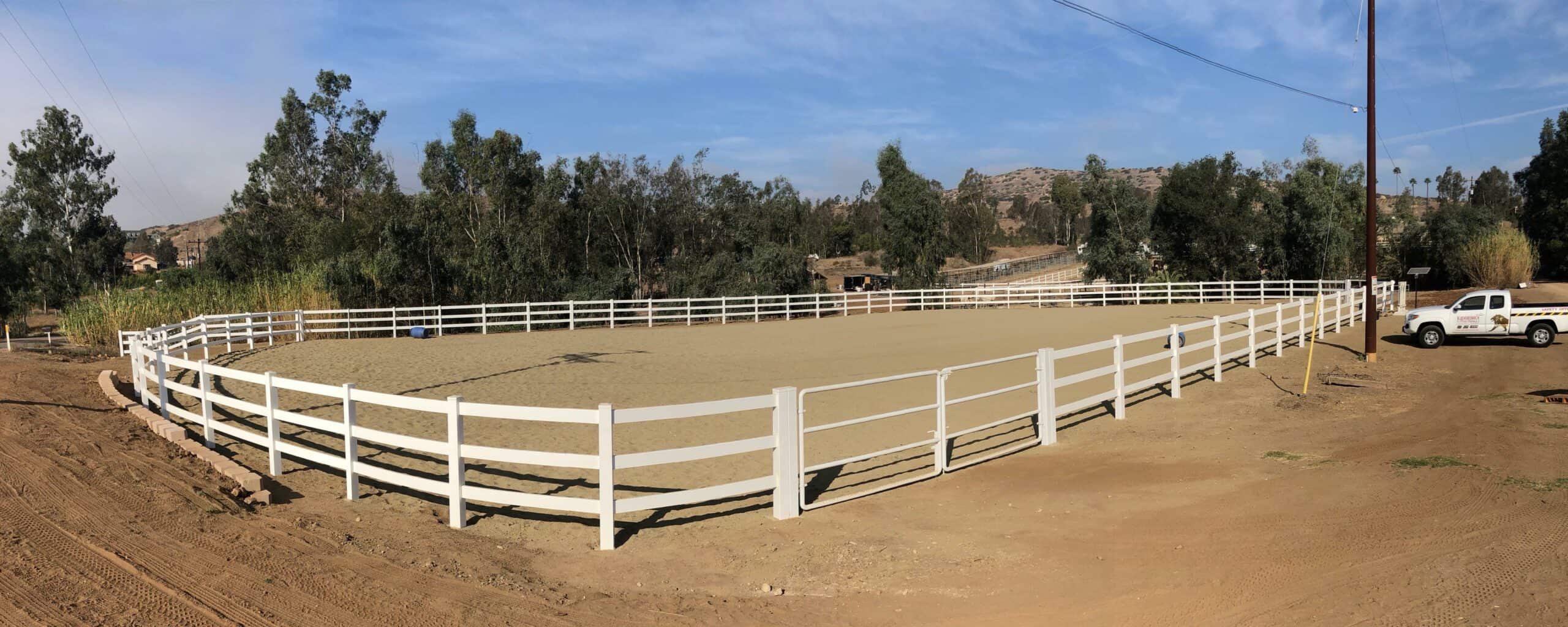 """5' High Vinyl Ranch Fence job in Escondido for Phil BBQ's """"Resque Ranch"""" located in Escondido"""
